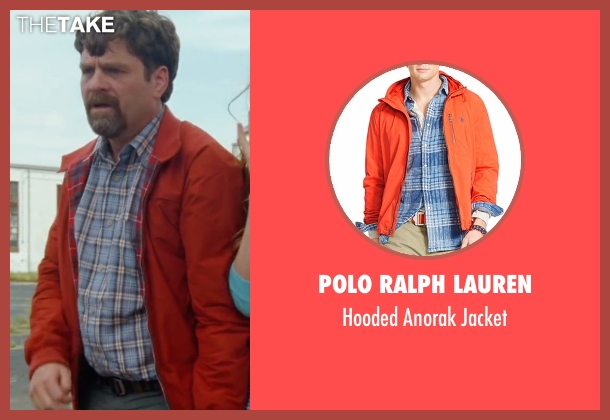 Polo Ralph Lauren orange jacket from Keeping Up with the Joneses seen with Zach Galifianakis (Jeff Gaffney)