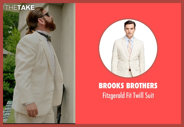 Brooks Brothers beige suit from Masterminds seen with Zach Galifianakis (David Ghantt)