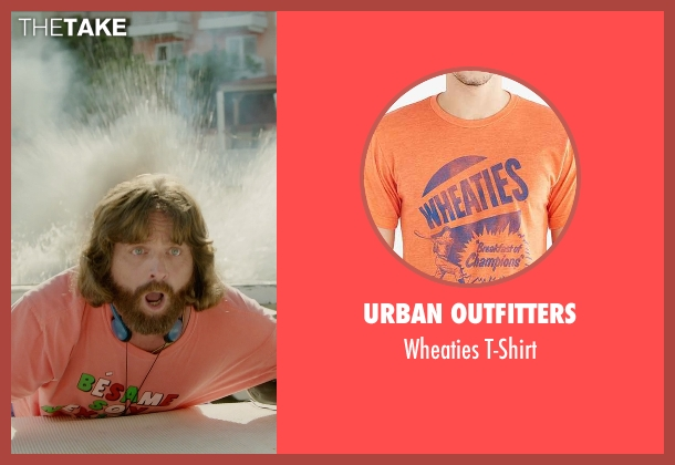 Urban Outfitters orange t-shirt from Masterminds seen with Zach Galifianakis (David Ghantt)