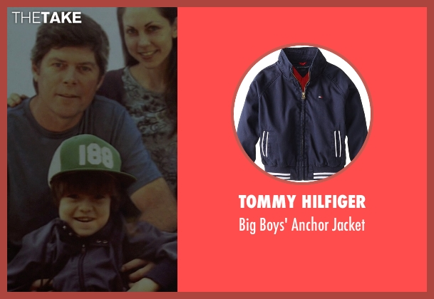 Tommy Hilfiger blue jacket from Need for Speed seen with Zach Shirey (Young Tobey Marshall)