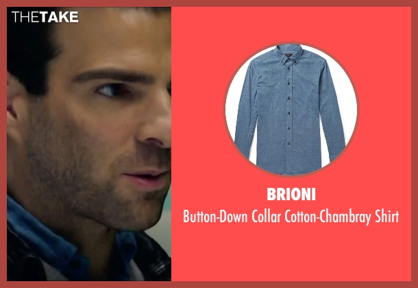 Brioni blue shirt from Hitman: Agent 47 seen with Zachary Quinto (John Smith)