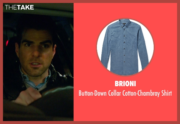 Brioni blue shirt from Hitman: Agent 47 seen with Zachary Quinto