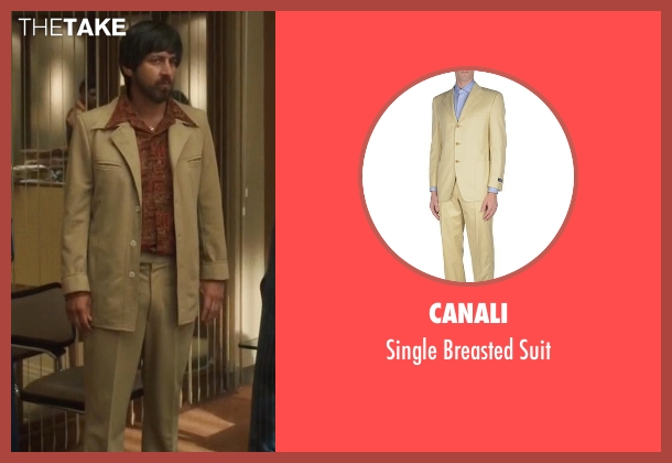 Canali beige suit from Vinyl seen with Zak Yankovich (Ray Romano)