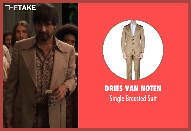 Dries Van Noten beige suit from Vinyl seen with Zak Yankovich (Ray Romano)