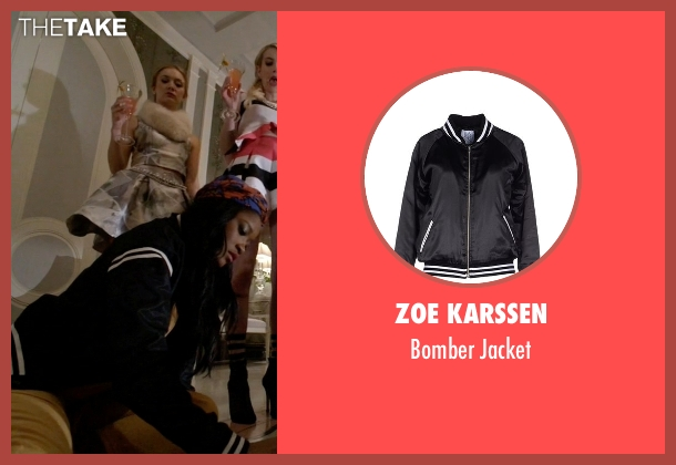 Zoe Karssen black jacket from Scream Queens seen with Zayday Williams (Keke Palmer)
