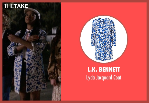 L.K. Bennett blue coat from Scream Queens seen with Zayday Williams (Keke Palmer)