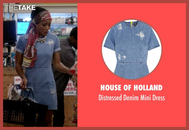 House of Holland blue dress from Scream Queens seen with Zayday Williams (Keke Palmer)