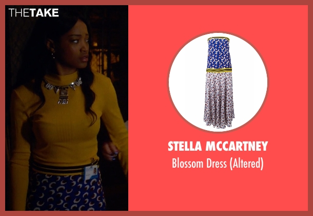 Stella McCartney blue dress from Scream Queens seen with Zayday Williams (Keke Palmer)
