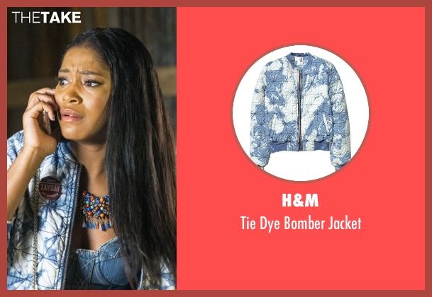 H&M blue jacket from Scream Queens seen with Zayday Williams (Keke Palmer)