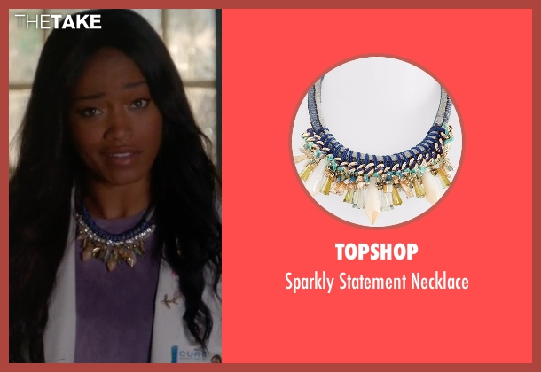 Topshop blue necklace from Scream Queens seen with Zayday Williams (Keke Palmer)