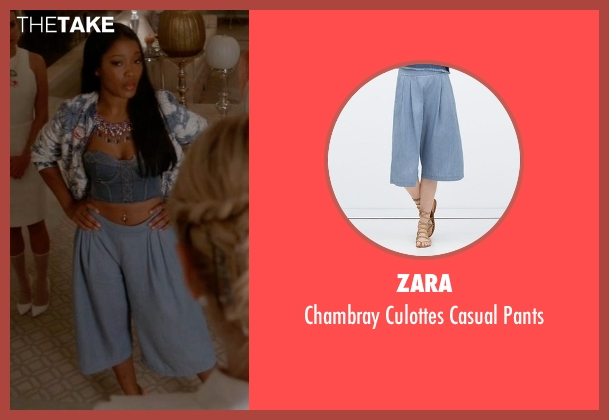 Zara blue pants from Scream Queens seen with Zayday Williams (Keke Palmer)