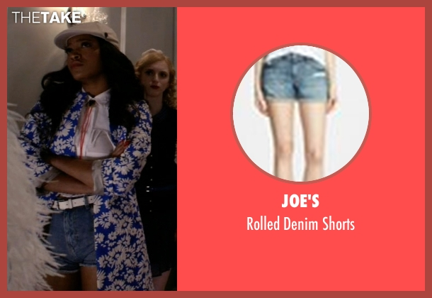 Joe's blue shorts from Scream Queens seen with Zayday Williams (Keke Palmer)