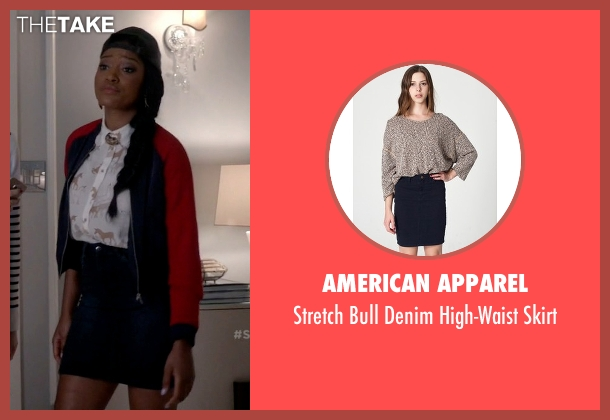 American Apparel blue skirt from Scream Queens seen with Zayday Williams (Keke Palmer)