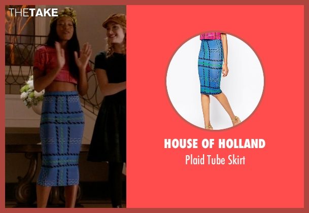 House of Holland blue skirt from Scream Queens seen with Zayday Williams (Keke Palmer)