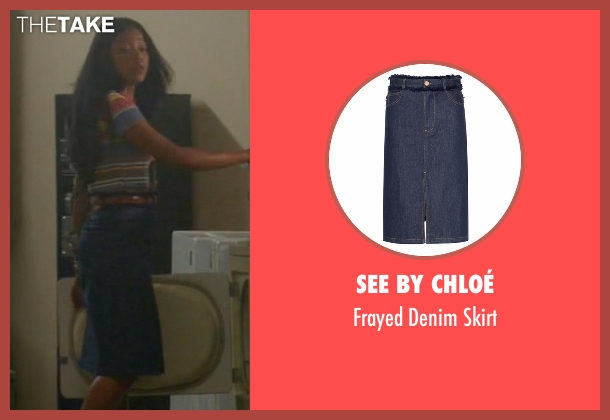 See by Chloé blue skirt from Scream Queens seen with Zayday Williams (Keke Palmer)
