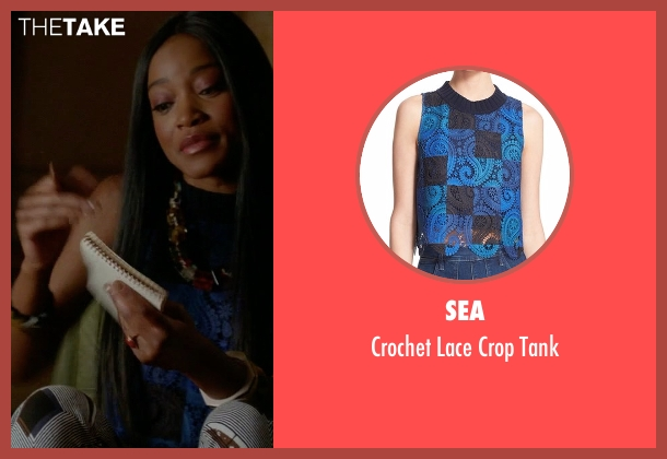 Sea blue tank from Scream Queens seen with Zayday Williams (Keke Palmer)