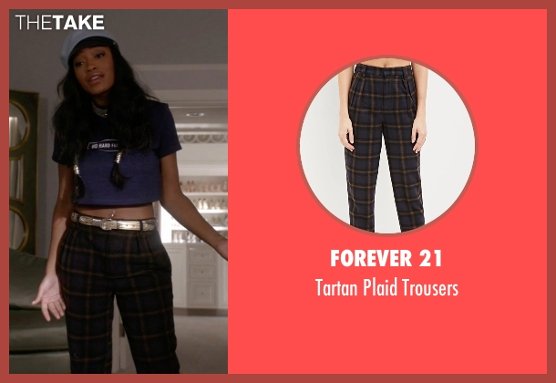 Forever 21 blue trousers from Scream Queens seen with Zayday Williams (Keke Palmer)