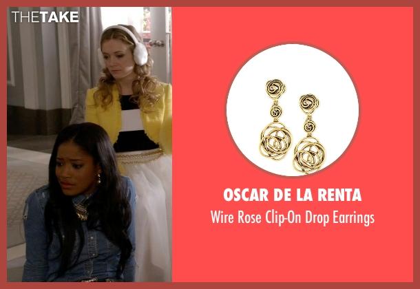 Oscar De La Renta gold earrings from Scream Queens seen with Zayday Williams (Keke Palmer)
