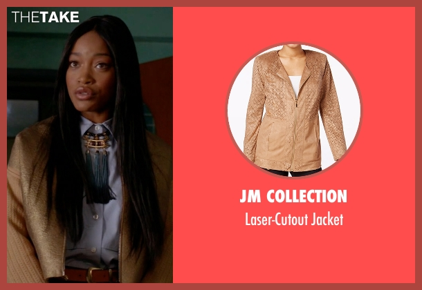 JM Collection gold jacket from Scream Queens seen with Zayday Williams (Keke Palmer)