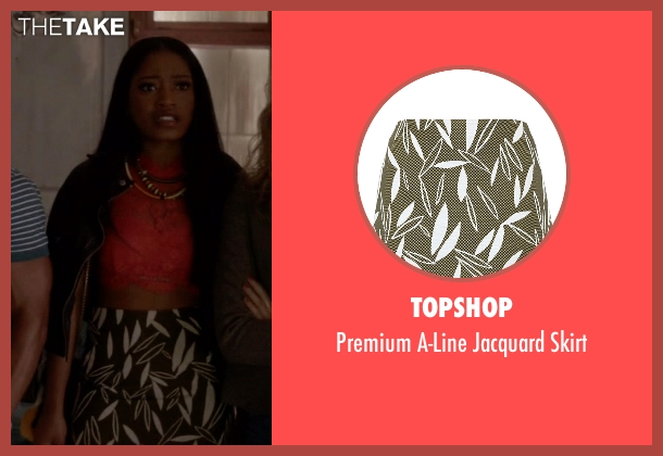Topshop green skirt from Scream Queens seen with Zayday Williams (Keke Palmer)