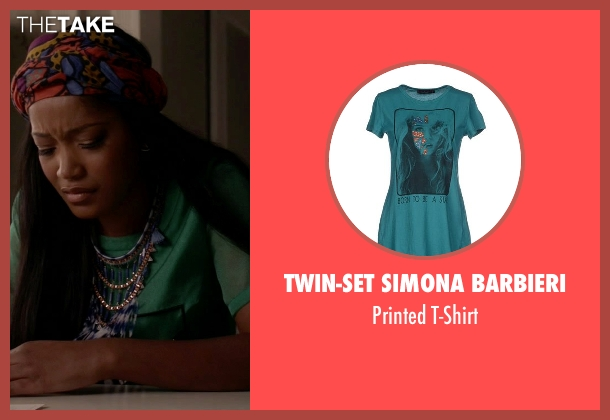 Twin-Set Simona Barbieri green t-shirt from Scream Queens seen with Zayday Williams (Keke Palmer)