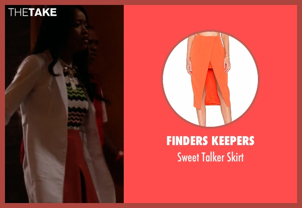 Finders Keepers orange skirt from Scream Queens seen with Zayday Williams (Keke Palmer)
