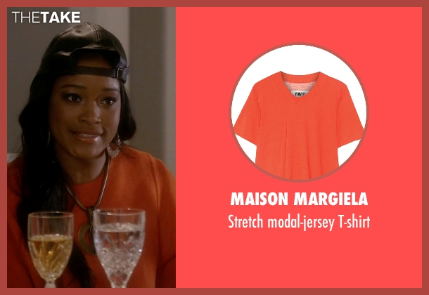 Maison Margiela orange t-shirt from Scream Queens seen with Zayday Williams (Keke Palmer)