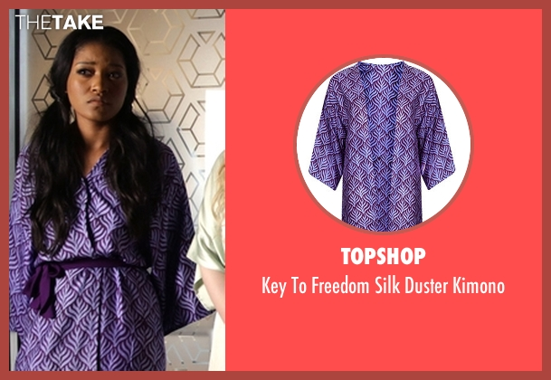 Topshop purple kimono from Scream Queens seen with Zayday Williams (Keke Palmer)