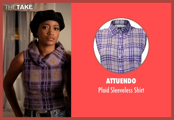 Attuendo purple shirt from Scream Queens seen with Zayday Williams (Keke Palmer)
