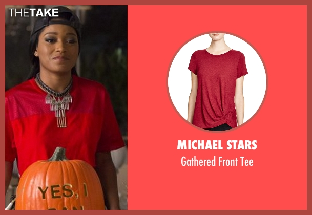Michael Stars red tee from Scream Queens seen with Zayday Williams (Keke Palmer)