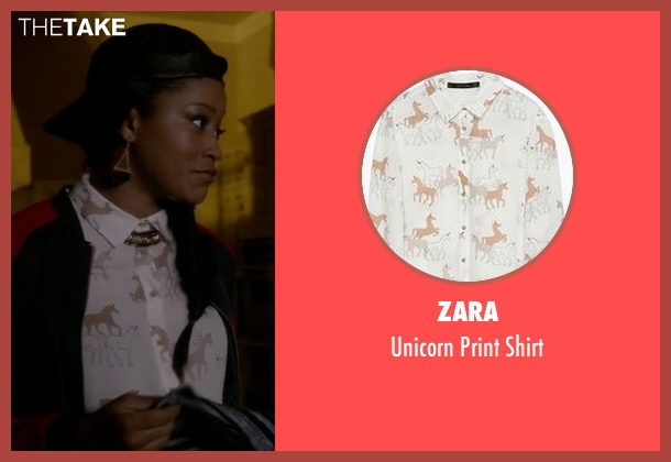 Zara white shirt from Scream Queens seen with Zayday Williams (Keke Palmer)