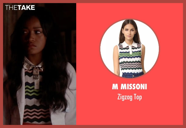 M Missoni white top from Scream Queens seen with Zayday Williams (Keke Palmer)