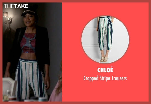 Chloé white trousers from Scream Queens seen with Zayday Williams (Keke Palmer)