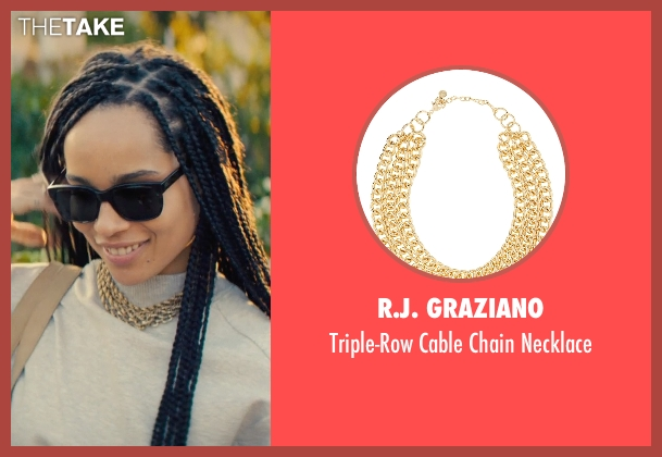 R.J. Graziano gold necklace from Dope seen with Zoë Kravitz (Nakia)