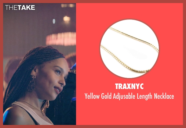 Traxnyc gold necklace from Dope seen with Zoë Kravitz (Nakia)