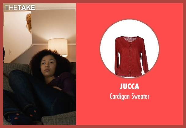 Jucca red sweater from Prisoners seen with Zoë Soul (Eliza Birch)