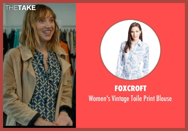 Foxcroft blue blouse from What If seen with Zoe Kazan (Chantry)