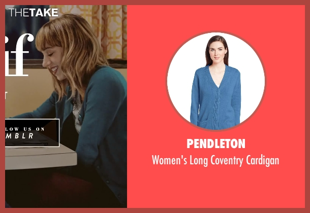 Pendleton blue cardigan from What If seen with Zoe Kazan (Chantry)