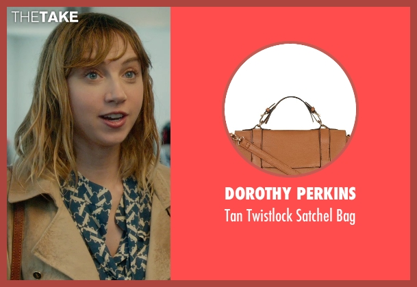 Dorothy Perkins brown bag from What If seen with Zoe Kazan (Chantry)