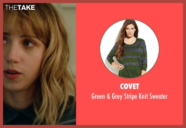 Covet green sweater from What If seen with Zoe Kazan (Chantry)