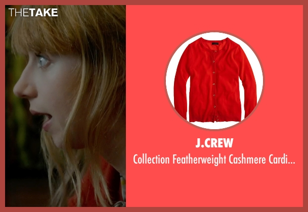 J.Crew red cardigan from What If seen with Zoe Kazan (Chantry)