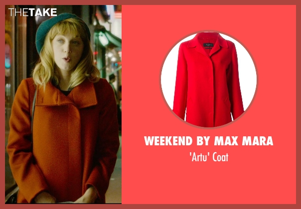 Weekend By Max Mara red coat from What If seen with Zoe Kazan (Chantry)
