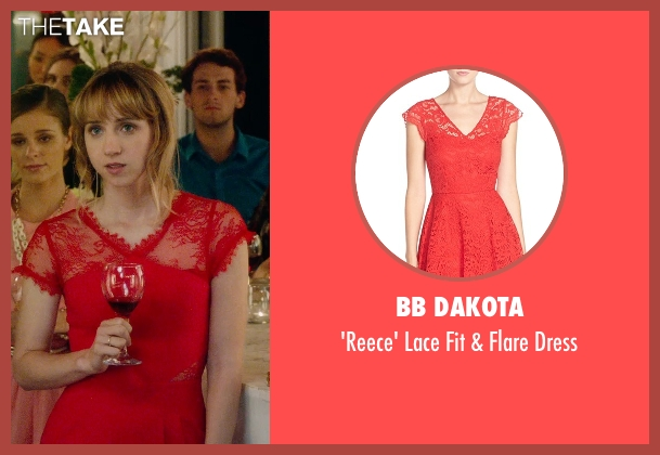 BB Dakota red dress from What If seen with Zoe Kazan (Chantry)