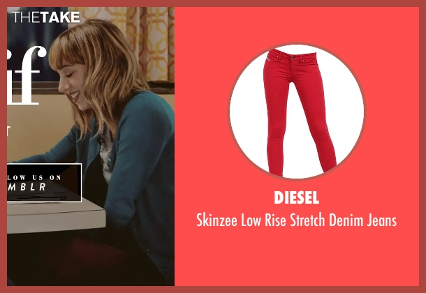 Diesel red jeans from What If seen with Zoe Kazan (Chantry)