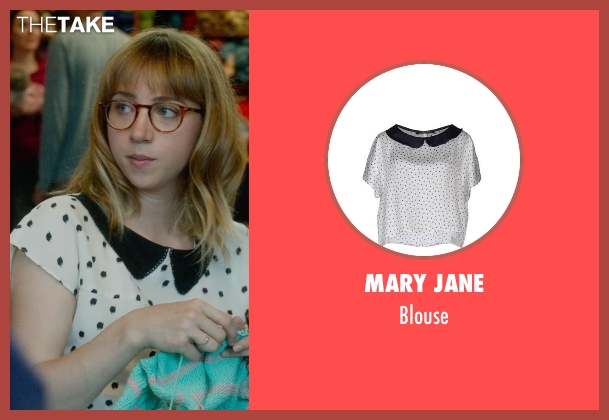 Mary Jane white blouse from What If seen with Zoe Kazan (Chantry)