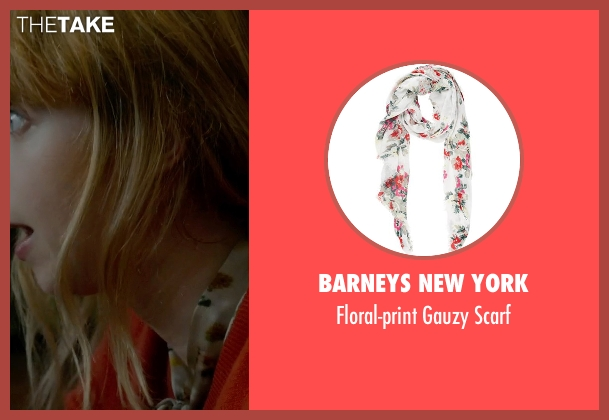 Barneys New York white scarf from What If seen with Zoe Kazan (Chantry)