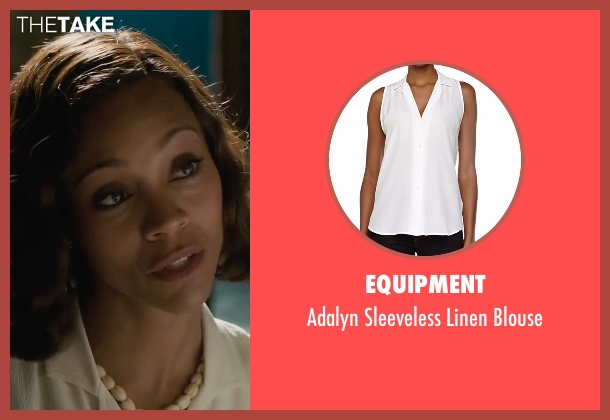 Equipment white blouse from Live By Night seen with Zoe Saldana (Graciella Suarez)
