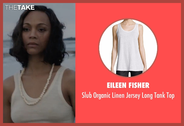 Eileen Fisher white top from Live By Night seen with Zoe Saldana (Graciella Suarez)