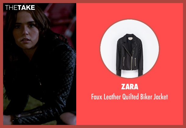 Zara black jacket from Vampire Academy seen with Zoey Deutch (Rose Hathaway)
