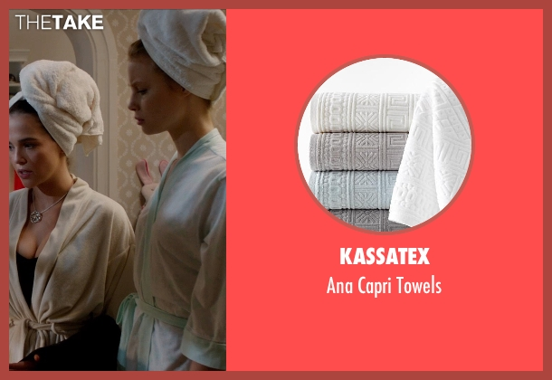 Kassatex white towels from Vampire Academy seen with Zoey Deutch (Rose Hathaway)